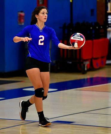 10/4/2019 Mike Orazzi | StaffrSt. Paul's Greta Panke (2) during Friday night's volleyball match with Crosby in Bristol.