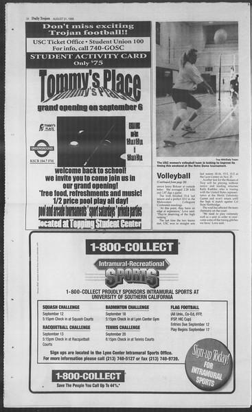 Daily Trojan, Vol. 126, No. 2, August 31, 1995