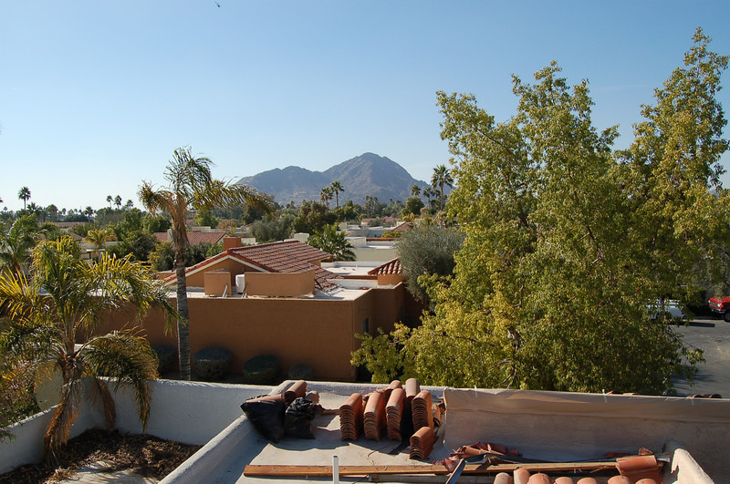 Briarwood IV from the roof of our house, with Camelback Mountain in the distance.