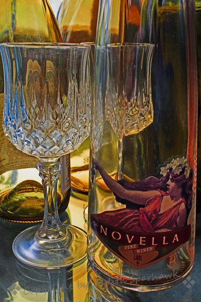 A Bottle of Novella ~ I bought this bottle of wine a couple of years ago for a featured artist's reception I held for my show at the local gallery.  I selected the bottle because I loved the label, and then kept it, planning to use it in a still life photo shoot.  I finally pulled it out and did the set-up with light coming through my livingroom window.  I still love the label, and think it works well for this image.