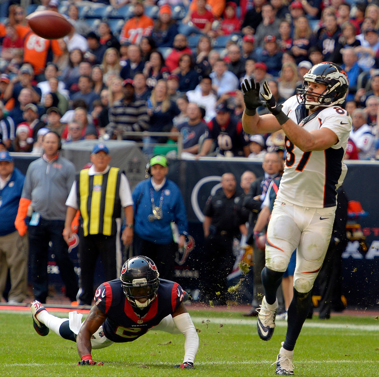 . Denver Broncos wide receiver Eric Decker (87) catches a pass for his 9th touchdown of the year during the fourth quarter against the Houston Texans December 22, 2013 at Reliant Stadium. (Photo by John Leyba/The Denver Post)