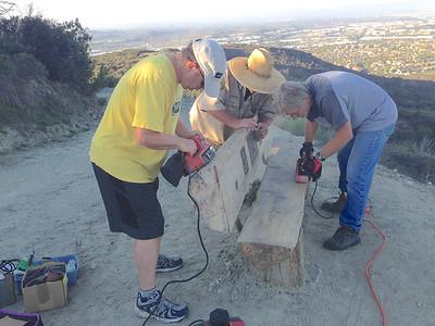 2015 09-24 refurbishing Mark's Bench