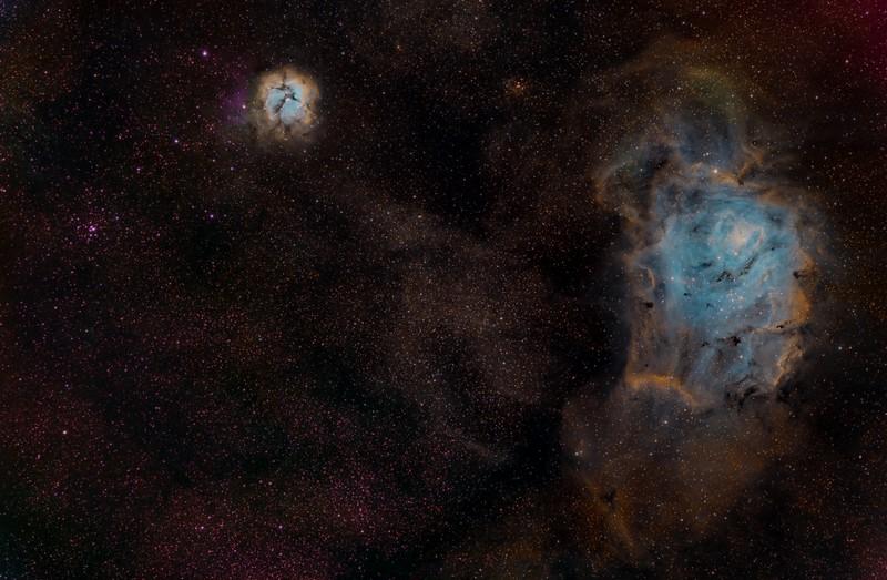 "Object: M8, M20 RA: 18h 07m 18.38s Dec: 2409'20.69<br /> Sagitarius constellation<br /> Camera: SBIG STL 11000M<br /> Mount: Takahashi EM200 Temma2<br /> Scope: TMB 130/780 with 2,5"" Flattener <br /> RGB: Palette Hubble, Halfa=Green, SII=Red, OIII=Blue<br /> Halfa=9x900""<br /> OIII 12x900""<br /> SII15x900<br /> Date: 9,10,11,16,23,24,25 July 2012<br /> Sevilla - Spain"