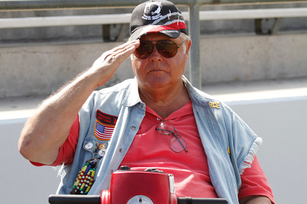 ". Larry Stuppy, of Huntington Beach, a Vietnam Veteran Air Force, salutes during the Vietnam Veterans Memorial ""The Wall That Heals\"" Closing Ceremony event, at La Habra High School, in La Habra, Sunday, July 14, 2013. (SGVN/Correspondent Photo by James Carbone)"
