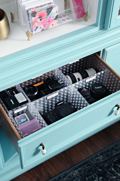 Organized Camera Gear Drawer Storage