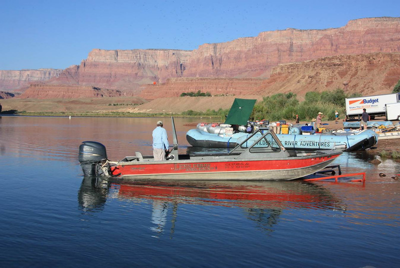 Launching a guide boat at Lees Ferry with the Grand Canyon in the back ground..jpg