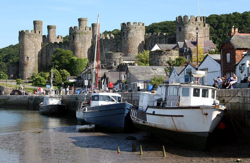 Harbour in Conwy.  The tidal variation is quite dramatic.