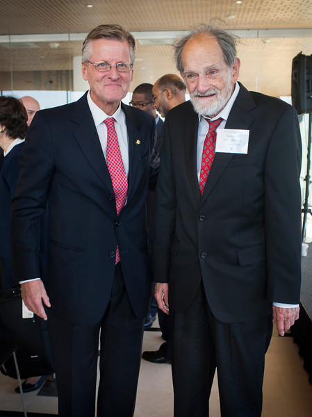 Dr. Lloyd Shapley, UCLA professor ameritus, visits with Swedish Ambassador Jonas Hafstrom at the Embassy of Sweden in Washington, D.C. on November 29th, 2012 in recognition of his Nobel Prize award for economics.