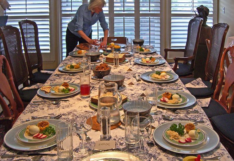 Fern setting the seder table