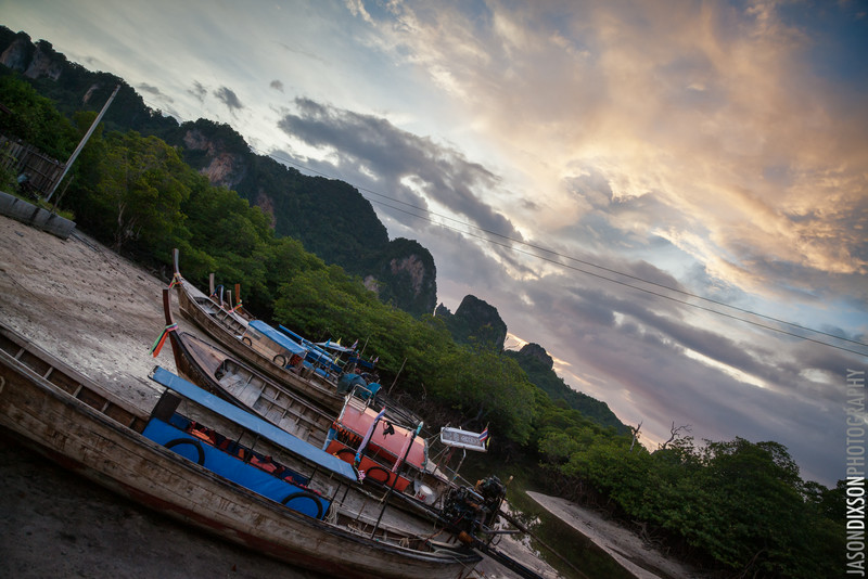 Beached boats in Ko Phi Phi, Thailand.