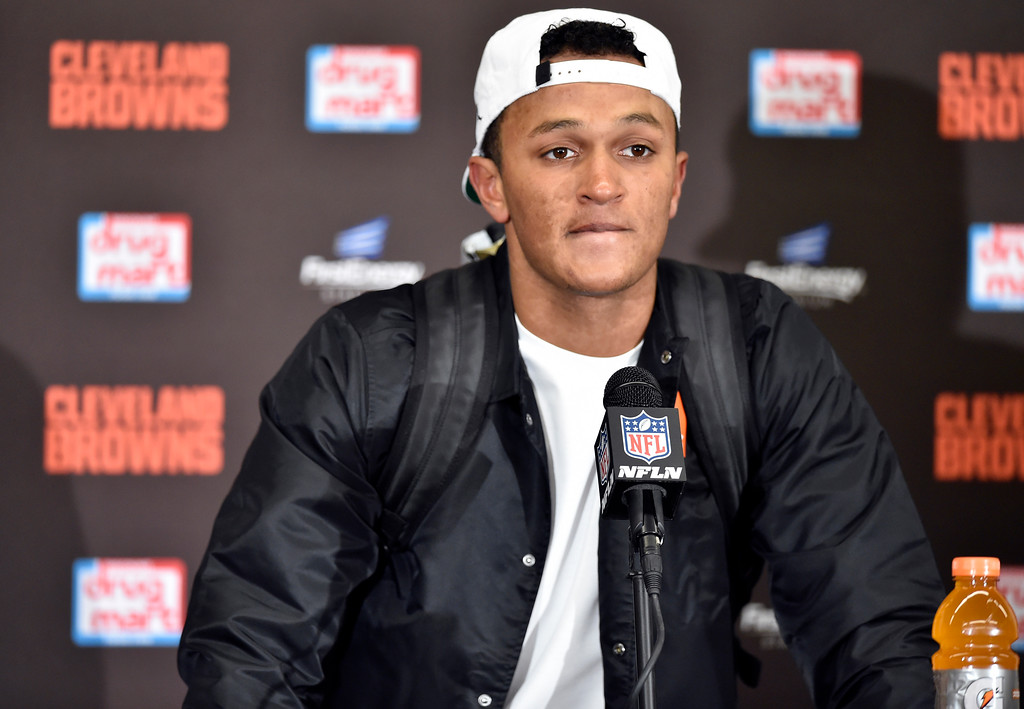 . Cleveland Browns quarterback DeShone Kizer answers questions after the Jacksonville Jaguars defeated his team in an NFL football game, Sunday, Nov. 19, 2017, in Cleveland. (AP Photo/David Richard)