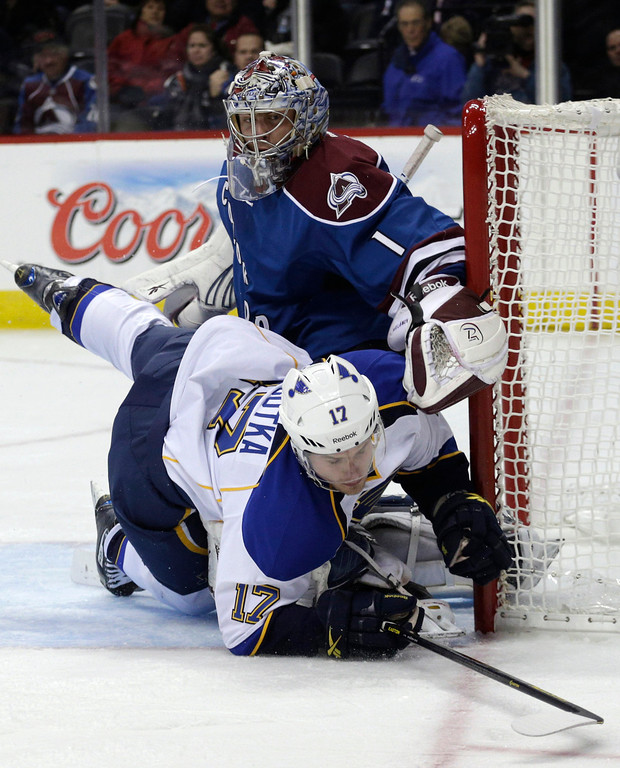 . St. Louis Blues center Vladimir Sobotka, of the Czech Republic, collides with Colorado Avalanche goalie Semyon Varlamov, of Russia, during the second period of an NHL hockey game Wednesday, Feb. 20, 2013, in Denver.(AP Photo/Joe Mahoney)