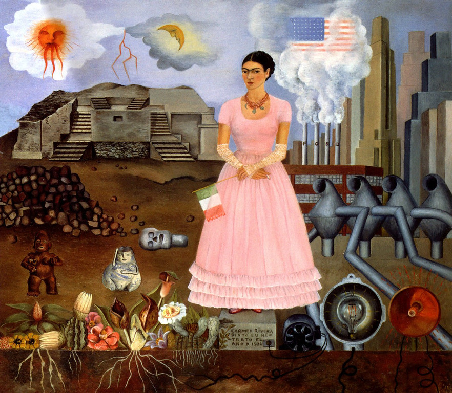 . Self-Portrait on the Borderline between Mexico and the United States, Frida Kahlo, 1932, oil on metal, Private Collection