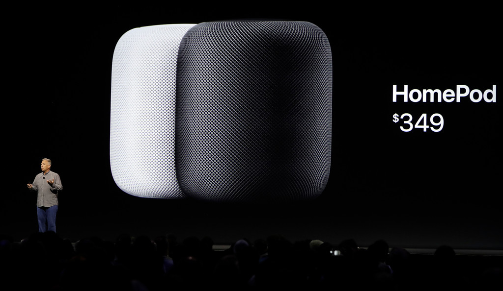 . Phil Schiller, Apple\'s Senior Vice President of Worldwide Marketing, introduces the HomePod speaker and its pricing during an announcement of new products at the Apple Worldwide Developers Conference Monday, June 5, 2017, in San Jose , Calif. (AP Photo/Marcio Jose Sanchez)