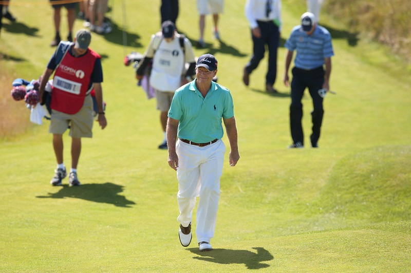 . US golfer Tom Watson walks to the 13th tee during his first round on the opening day of the 2014 British Open Golf Championship at Royal Liverpool Golf Course in Hoylake, north west England on July 17, 2014. (ANDREW YATES/AFP/Getty Images)