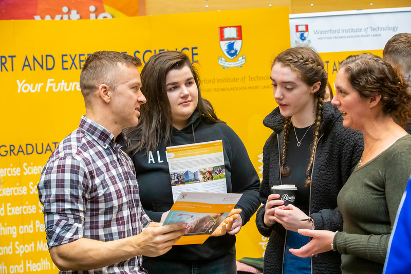 "22/11/2019. FREE TO USE IMAGE. Pictured at Waterford Institute of Technology (WIT) Open Day. Pictured are Bruce Wardrop Lecturer WIT, Mairead Foy WIT with Ada and Emily Bateman. Picture: Patrick Browne  Two open days taking place this week for school leavers and adult learners at WIT Arena  Families of south east Leaving Cert students wishing to get as much course and college-related research done as early as possible in sixth year can do so by attending the Waterford Institute of Technology (WIT) Saturday Open Day, 9am-2pm on 23 November 2019. The traditional schools' open day will run as usual on Friday, 22 November with a focus on information for secondary school students, students in further education colleges, and other CAO applicants, including mature students.  The Saturday Open Day – isn't just about courses for school leavers – it will have information available on the courses available across WIT's schools of Lifelong Learning, Humanities, Engineering, Science & Computing, Health Sciences, Business.  Adults interested in upskilling, or re-skilling can find out about Springboard courses, traditional evening courses as well as part-time and postgrad courses which are offered. WIT also runs specialist programmes for education, science, engineering and other professionals. The number of students studying WIT's part-time and online courses increased to 1650 in 2018, a 28% increase on 2017.  WIT Registrar Dr Derek O'Byrne says: ""A trend we are seeing at WIT Open Days is that students who may have enjoyed the Schools Open day with their friends and school groups, will return the following day with their parents or guardians.""  Students whose schools are attending are encouraged to join their school group on the Friday. As school students are fully catered for at the Schools' Open Day on Friday, there will not be the same breadth of school leaver focused talks and events at the open day on Saturday. However, says Dr O'Byrne it is useful for par"