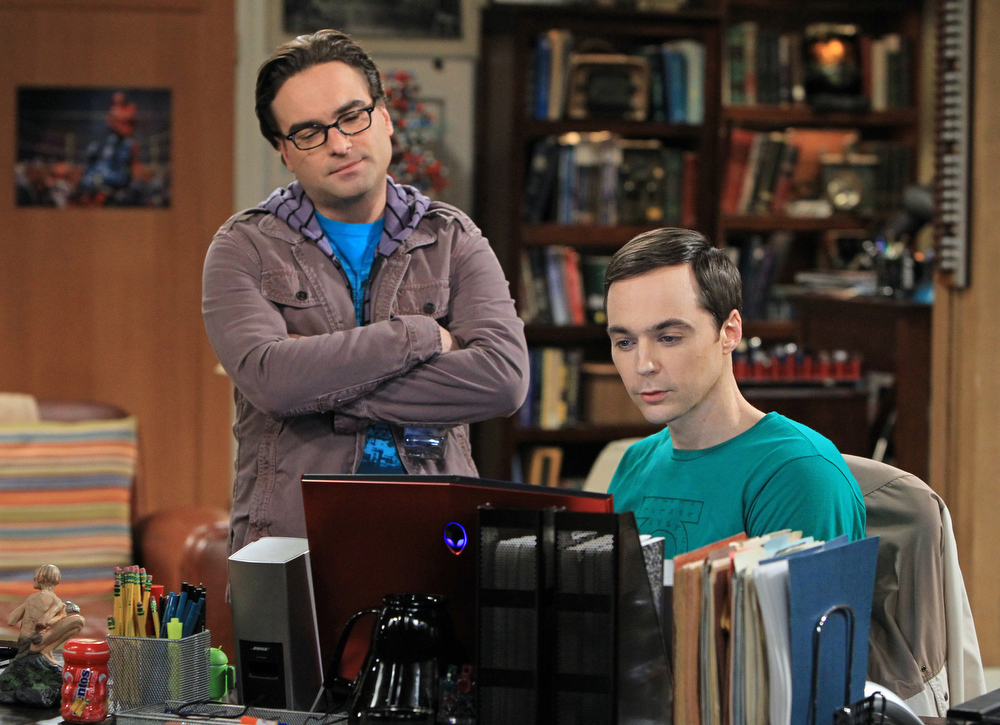 Description of . This image released by CBS shows Johnny Galecki, left, and Jim Parsons in a scene from