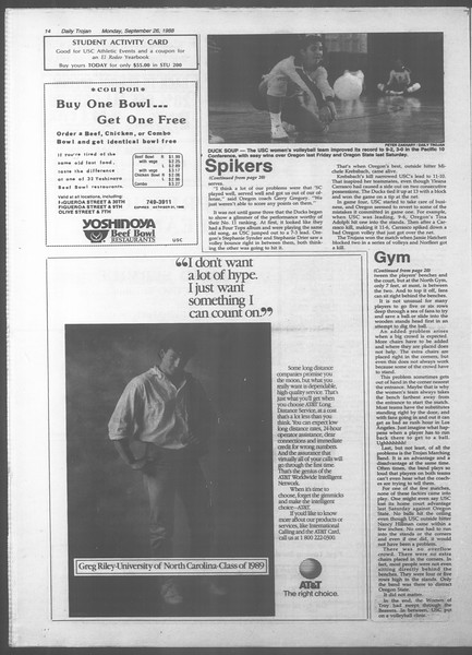 Daily Trojan, Vol. 107, No. 14, September 26, 1988