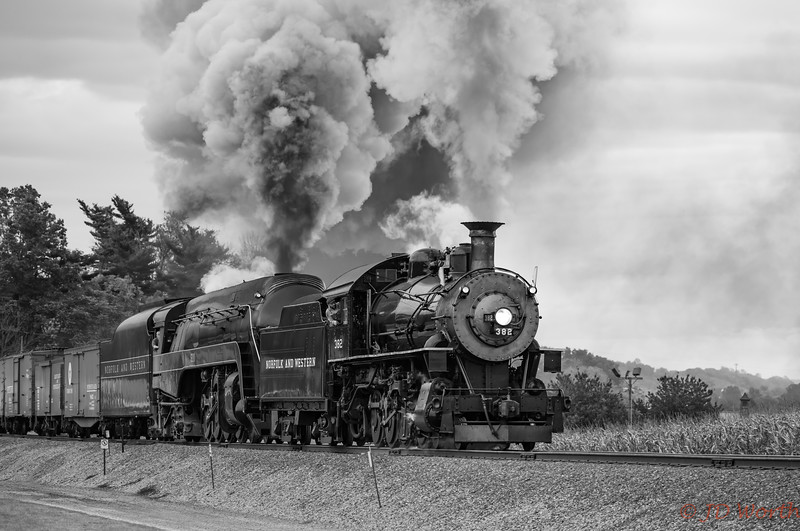 Strasburg RR - 611 382 Sunset Lerro Photo 5DsR Shoot - 382 + 611 Tandem RT Qtr Profile Hvy Smoke Crop BW-7743.jpg