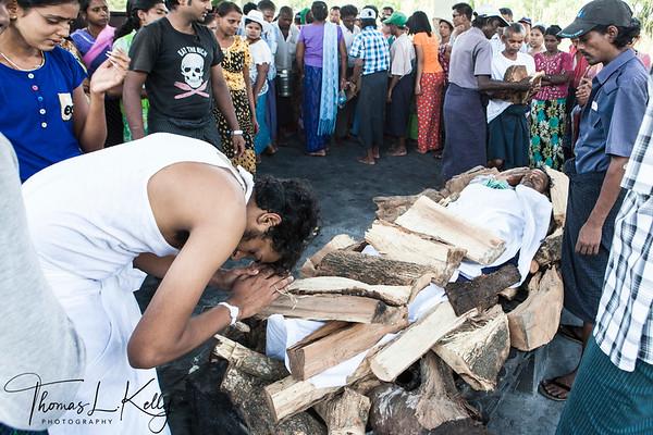 HINDU FUNERAL & CREMATION. MYANMAR.