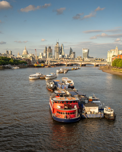 Ferry boats moored in the river Thames