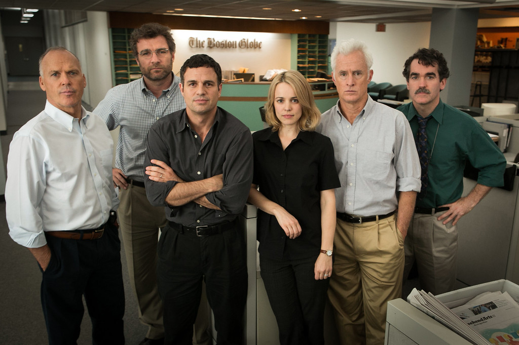 """. This photo provided by Open Road Films shows, Michael Keaton, from left, as Walter \""""Robby\"""" Robinson, Liev Schreiber as Marty Baron, Mark Ruffalo as Michael Rezendes, Rachel McAdams, as Sacha Pfeiffer, John Slattery as Ben Bradlee Jr., and Brian d\'Arcy James as Matt Carroll, in a scene from the film, \""""Spotlight.\"""" The 88th annual Academy Awards nominations will be announced in 24 categories beginning at 5:30 a.m. PST on Thursday, Jan. 14, 2016, at the Academy of Motion Picture Arts and Sciences in Beverly Hills, Calif.  The Oscars will be presented on Feb. 28, 2016, in Los Angeles. (Kerry Hayes/Open Road Films via AP)"""