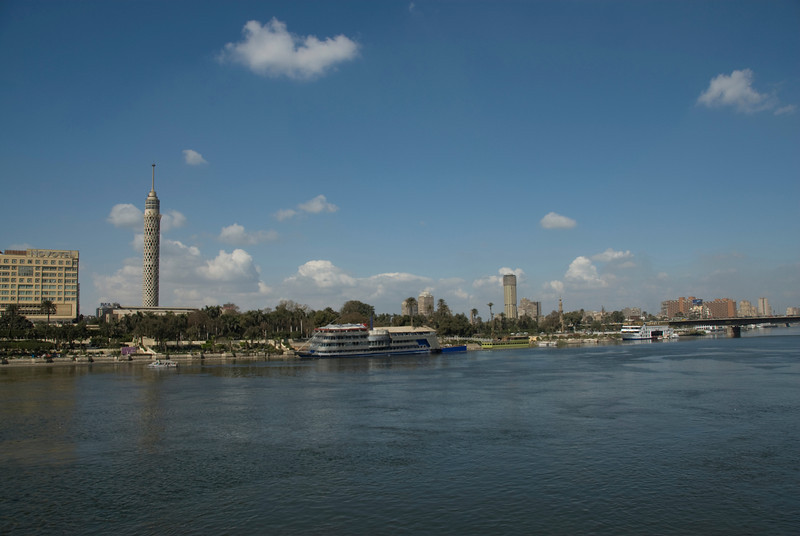 Cairo Tower, hotel and city skyline from Nile River Bank - Cairo, Egypt