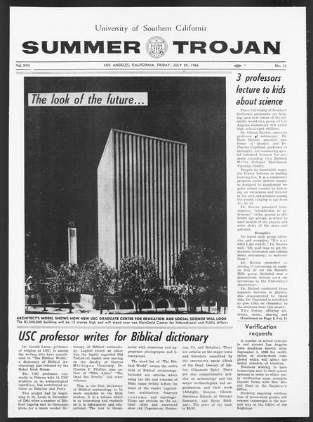 Summer Trojan, Vol. 17, No. 11, July 29, 1966