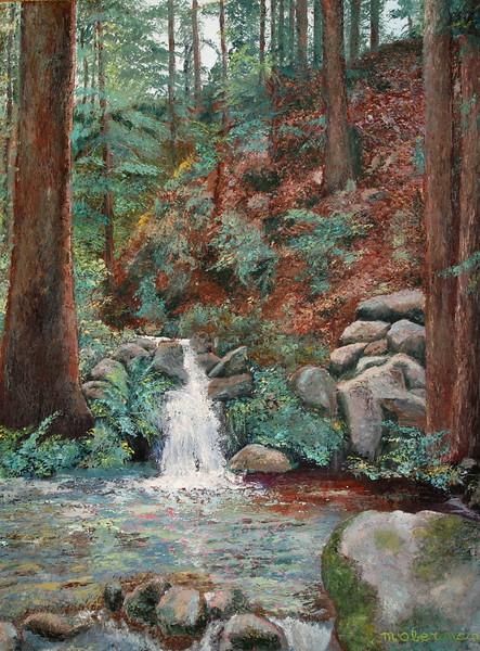 Waterfall in Forest (Oil).JPG