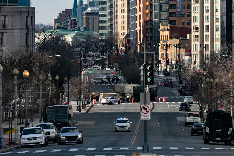 Downtown Washington, D.C. is locked down by roadblocks and checkpoints during inaugural ceremonies