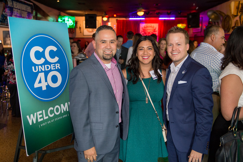 Mike Munoz(left) Marjorie Boudreux and Russell Wagner at the Corpus Christi Under 40 kick off event.