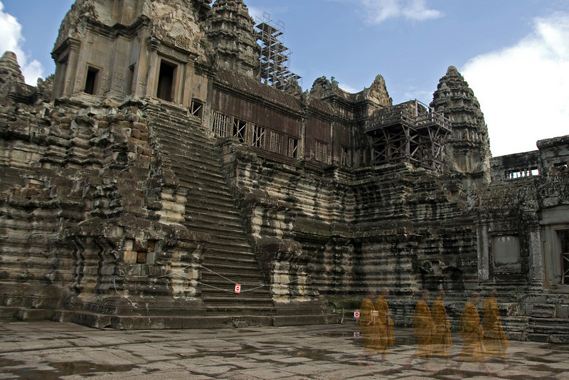 Ghostly shotof monks at Angkor Wat in Cambodia