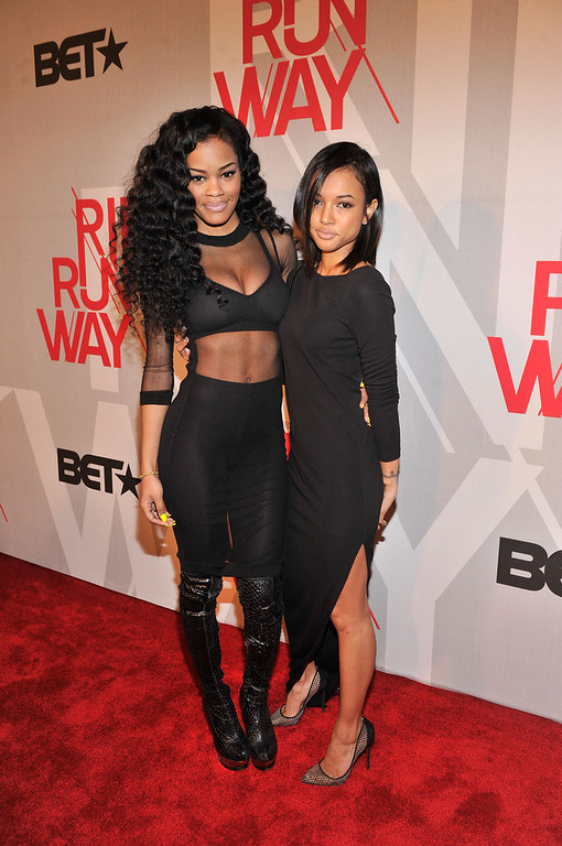 . Teyana Taylor and Karrueche Tran attend BET\'s Rip The Runway 2013:Red Carpet at Hammerstein Ballroom on February 27, 2013 in New York City.  (Photo by Stephen Lovekin/Getty Images for BET\'s Rip The Runway)