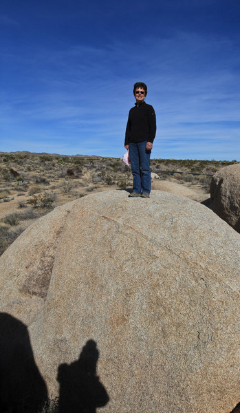 Tracy and Bob (in the shadow) at Joshua Tree National Park