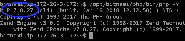 Old version of PHP in the Lightsail