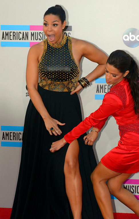 . Jordin Sparks and Rocsi Diaz arrives to the American Music Awards  at the Nokia Theatre in Los Angeles, California on Sunday November 24, 2013 (Photo by Andy Holzman / Los Angeles Daily News)
