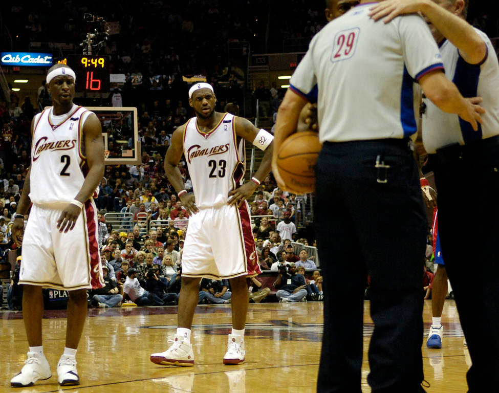 . Ken Blaze/KBlaze@News-Herald.com Flip Murray and LeBron James wait as the referees confer on a possession call in the fourth quarter Satruday at the Q.