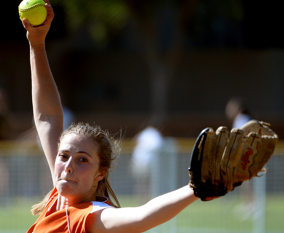 . Poly starting pitcher DeeDee Logan throws to the plate against Westridge in the first inning of a prep softball game at Westridge High School in Pasadena, Ca on Tuesday, April 15, 2014. Poly won 11-1. (Keith Birmingham Pasadena Star-News)