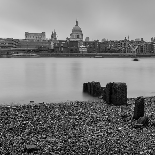 Thames beach and St Paul's Cathedral