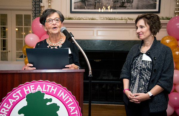 10/10/19 Wesley Bunnell | StaffrrThe CT Breast Health Initiative held their award dinner at Shuttle Meadow Country Club to honor their donors. Marsha Goldstein from the CT BHI Grants Committee , L, presents Linda Hodgkins MS ORT/L , CT-LANA from the Hospital of Central Connecticut the Marsha Goldstein Grant.