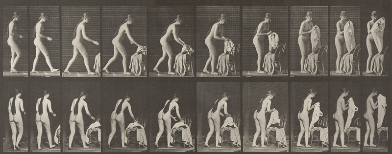 Nude woman standing and putting on clothes (Animal Locomotion, 1887, plate 415)