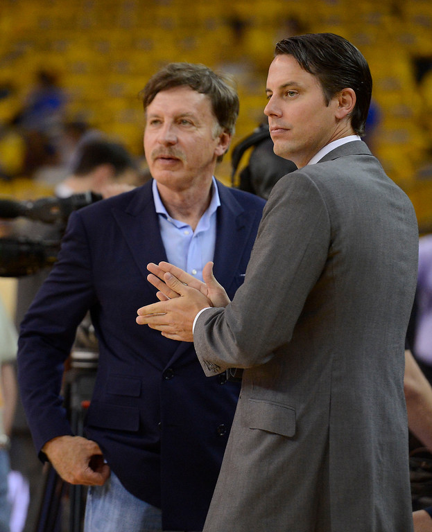 . President and Governor Josh Kroenke with Stan Kroenke duirng the teams pre game shoot around. The Denver Nuggets take on the Golden State Warriors in Game 6 of the first round NBA Playoffs May 2, 2013 at Oracle Arena. (Photo By John Leyba/The Denver Post)