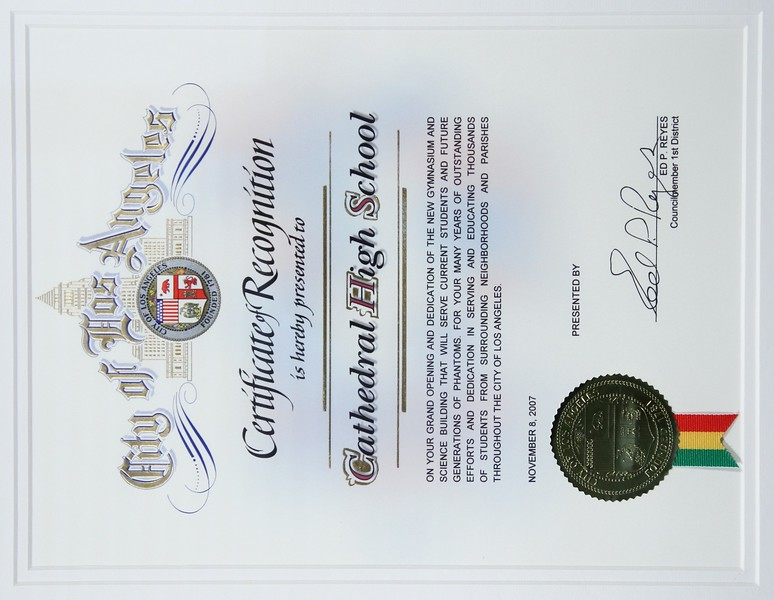 2007, Certificate of Recognition