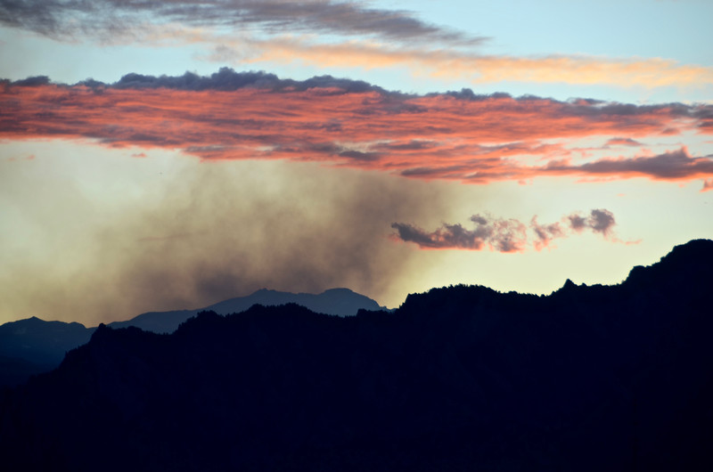 Sunset along Flatirons with smoke from Netherlands fire