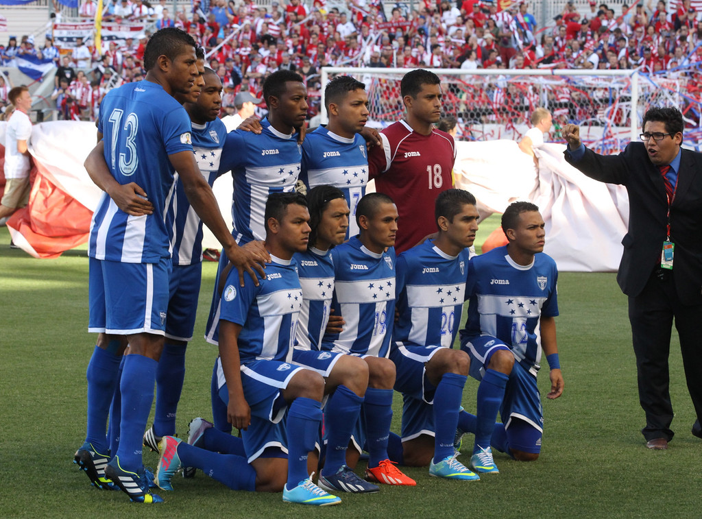 . The Honduras national soccer team poses for the traditional team photo prior to a World Cup qualifier soccer match, at Rio Tinto Stadium on Tuesday, June 18, 2013, in Sandy, Utah. (AP Photo/Rick Bowmer)