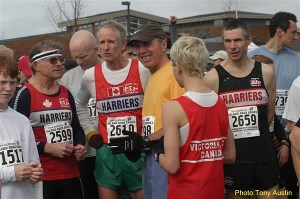 2004 Bazan Bay 5K - These four Harrier singlets got two age group wins, a second and a third