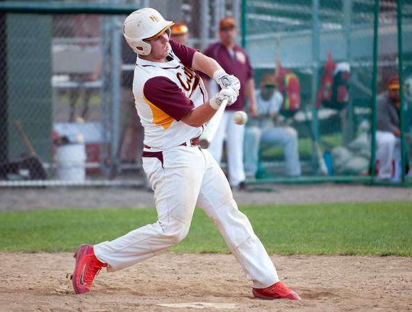 05/30/18 Wesley Bunnell | Staff New Britain baseball defeated Enfield 4-3 with a walk off bases loaded single in the bottom of the 7th in a first round CIAC Class LL tournament game. Michael Gajda (15) with a bases loaded game winning single.