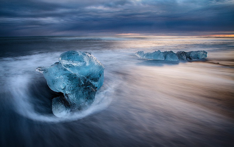 Icebergs in the surf at sunset, Iceland