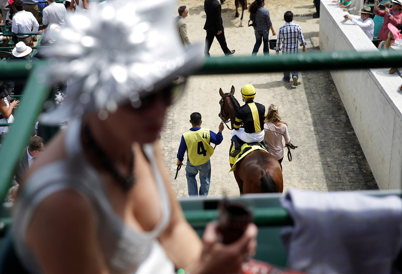 . A race horse is lead out to the track for a race before the 140th running of the Kentucky Derby horse race at Churchill Downs Saturday, May 3, 2014, in Louisville, Ky. (AP Photo/David Goldman)