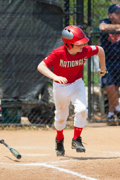 Christopher hits into a fielder's choice for a force out at 2nd base in the top of the 5th inning. The bats of the Nationals were supported by a great defensive outing in a 11-4 win over the Twins. They are now 7-3 for the season. 2012 Arlington Little League Baseball, Majors Division. Nationals vs Twins (13 May 2012) (Image taken by Patrick R. Kane on 13 May 2012 with Canon EOS-1D Mark III at ISO 400, f4.0, 1/2000 sec and 280mm)